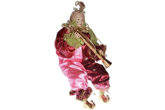 Goodwill Kerstdecoratie Kerstpop Nar met Fluit - 1 stuk - 63,5 cm - Roze