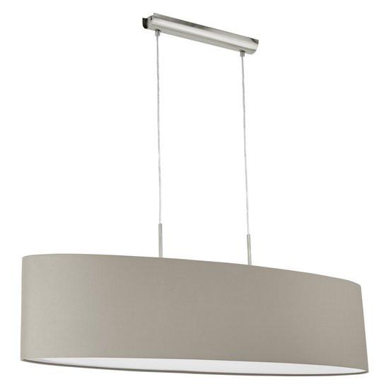 Koopjeshoek - EGLO Pasteri - Hanglamp - 2 Lichts - Lengte 1000mm. - Nikkel-Mat - Taupe