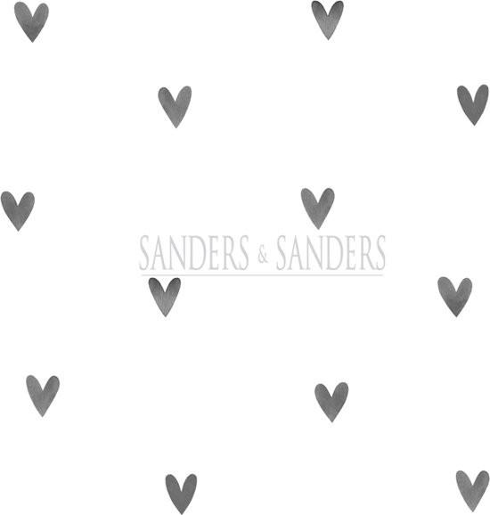 Sanders & Sanders behang hartjes zwart en wit - 935267