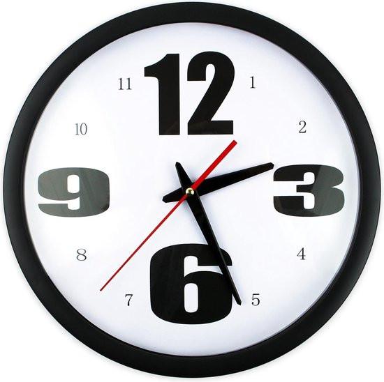 JAP Clocks AC69 - Ronde wandklok - Ø30 cm - Wand klok industrieel - Muurklok - Zwart