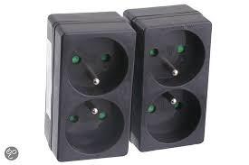 Exin Verdeelstekker - 2 x domino met penaarde - Zwart