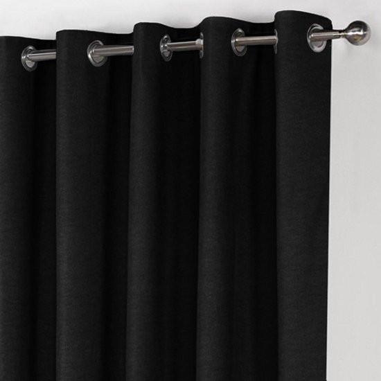 Home of Curtains LEMONI - Gordijn - Met Ringen - Verduisterend - Kant en Klaar - 150x260 cm - Zwart