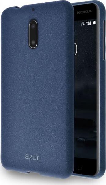 Azuri flexible cover met zand textuur voor Nokia 6 - Blauw