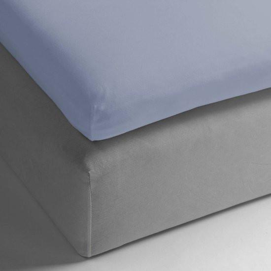 HnL Living - Hoeslaken - Topper - Katoen Perkal - 80 x 200 cm - Lichtblauw