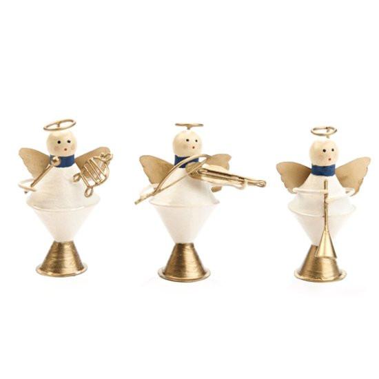 Goodwill Kerstdecoratie Metalen Muzikale Engelen - Set van 3 - 7,5 cm - Wit/Goud
