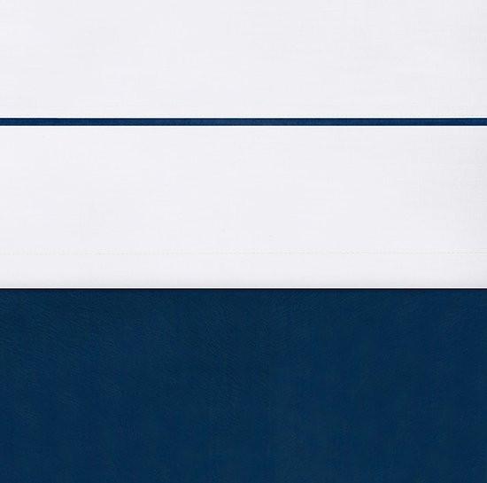 Laken 120x150cm wit met bies marine