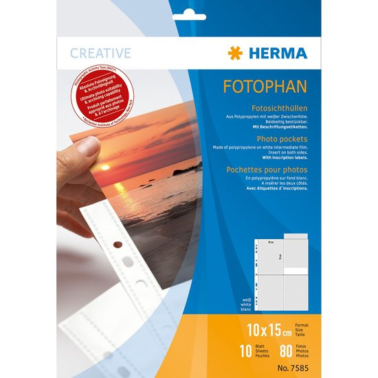 Herma fotophan 10x15 hoog 10 hoesjes 7585