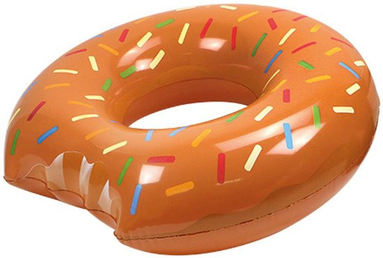 Opblaasband Donut - 119 cm - Bruin