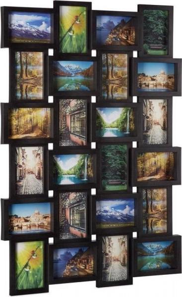 relaxdays fotolijst voor 24 foto's - fotocollage - fotogalerie - collage - 59 x 86 cm zwart