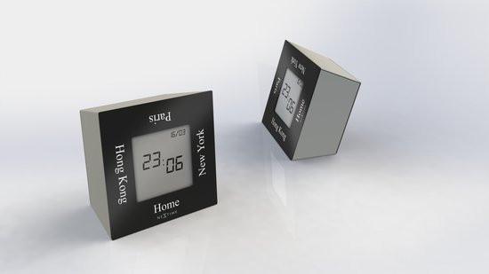 NeXtime Turn4Time - Klok - Metaal - 7.4x7,4 cm - Zwart/ Zilver