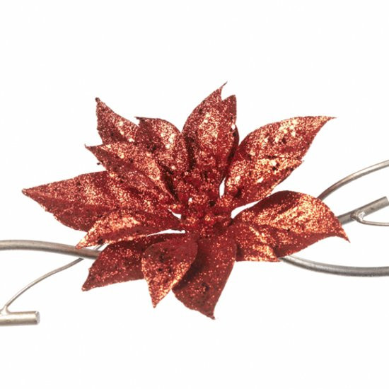 Goodwill Kerstdecoratie Poinsettia Bloem op clip- Set van 6 - 19 cm - Rood