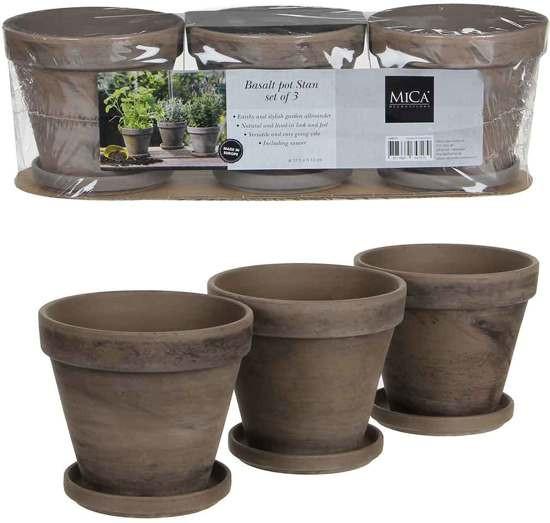 Mica Decorations stan pot met schotel rond grijs 2 stuks maat in cm: 40 x 13 x 12