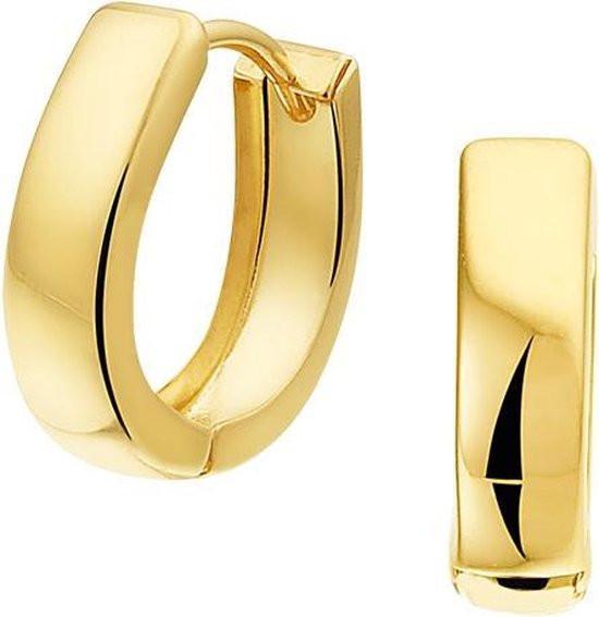 The Jewelry Collection - Klapoorringen Vlak 4,0 mm - Goud