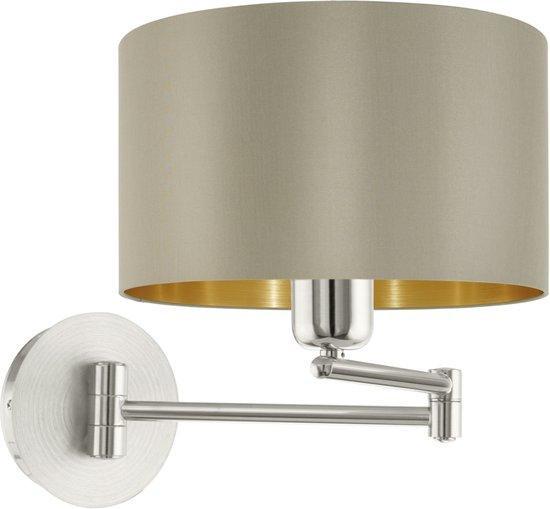 EGLO Maserlo - Wandlamp - 1 Lichts - ø230 mm. - Nikkel-Mat - Taupe - Goud