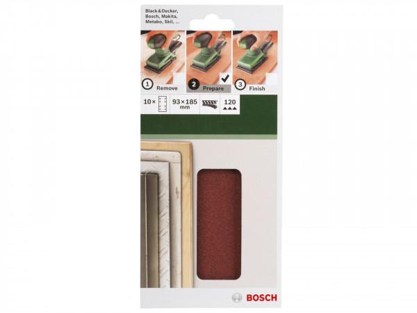 Bosch 10-delige schuurbladset voor vlakschuurmachines 93 x 185 mm - korrel 120